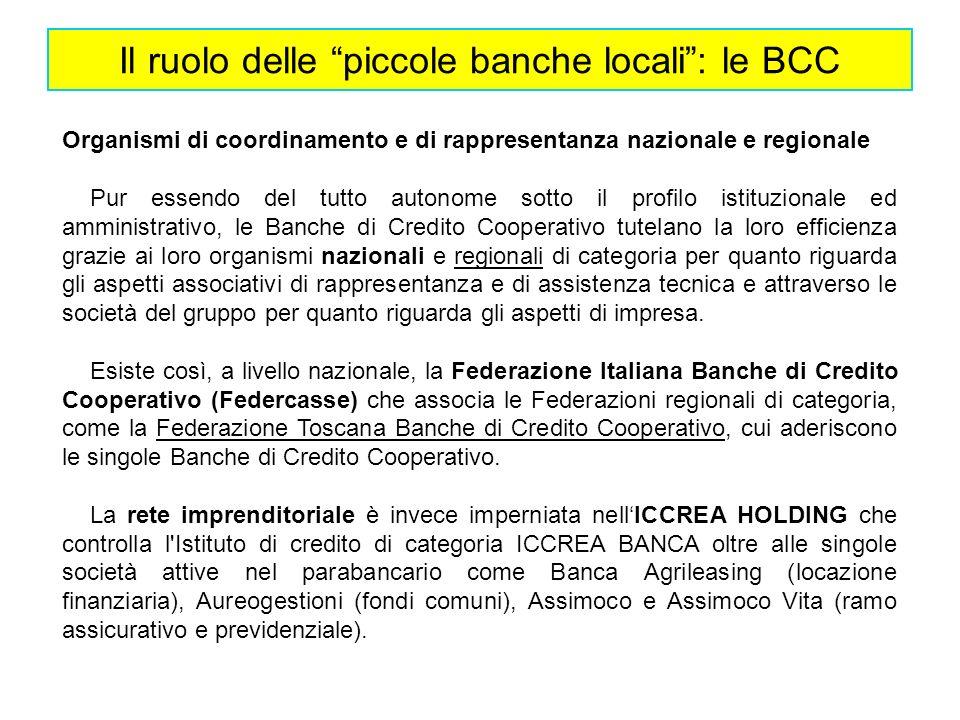 Il ruolo delle piccole banche locali: le BCC Organismi di coordinamento e di rappresentanza nazionale e regionale Pur essendo del tutto autonome sotto