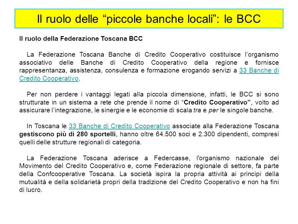 Il ruolo della Federazione Toscana BCC La Federazione Toscana Banche di Credito Cooperativo costituisce lorganismo associativo delle Banche di Credito
