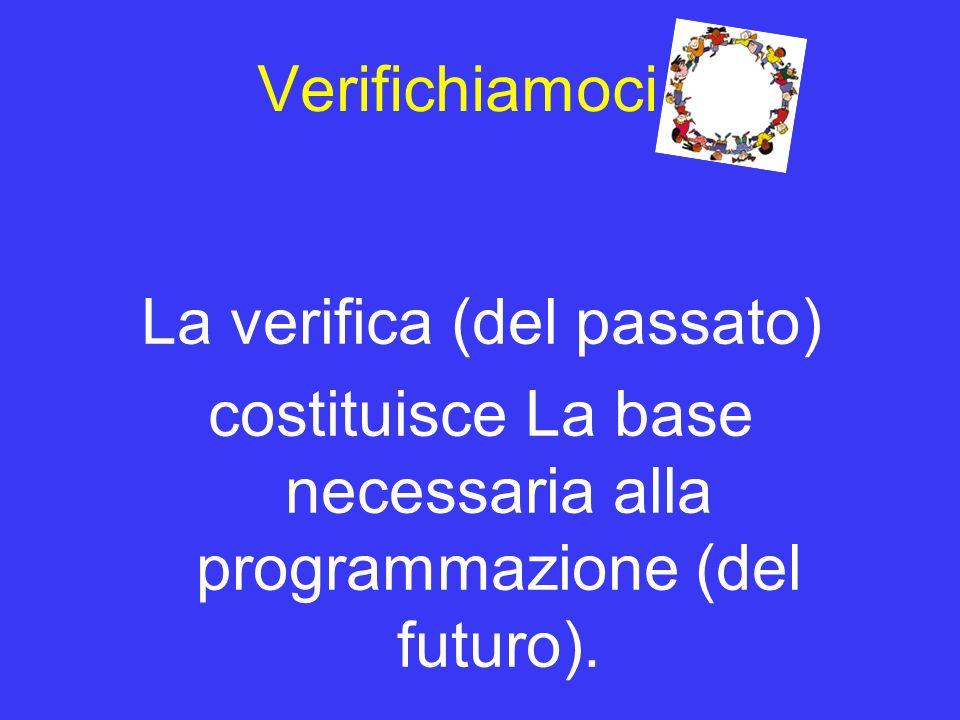 La verifica (del passato) costituisce La base necessaria alla programmazione (del futuro). Verifichiamoci
