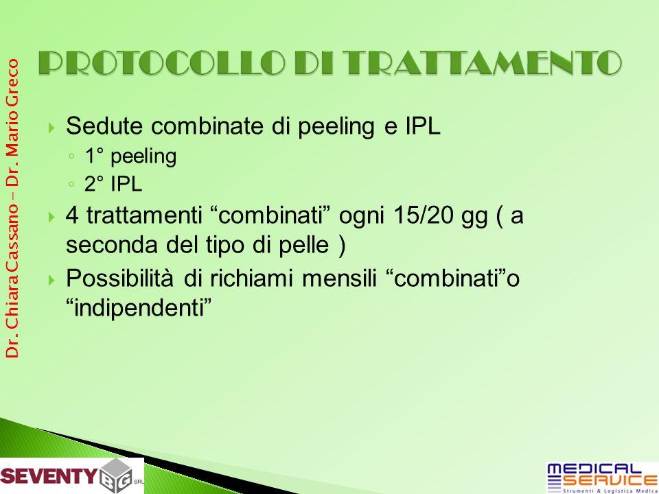 Sedute combinate di peeling e IPL 1° peeling 2° IPL 4 trattamenti combinati ogni 15/20 gg ( a seconda del tipo di pelle ) Possibilità di richiami mensili combinatio indipendenti Dr.