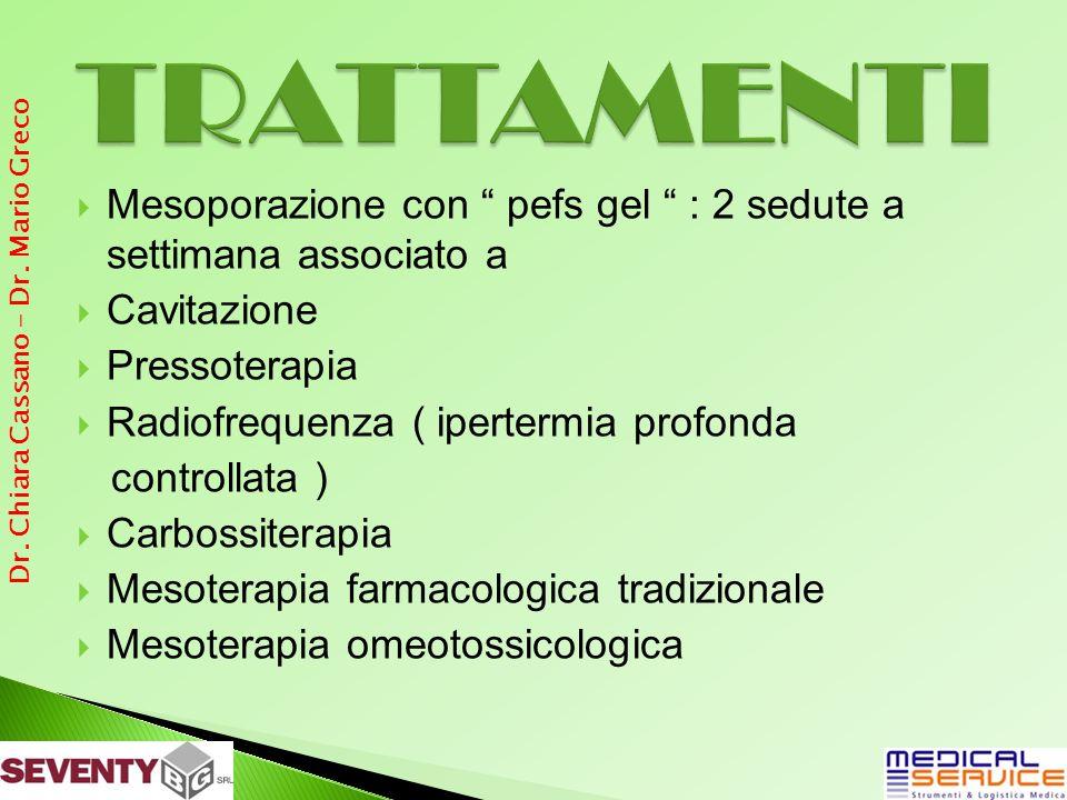Mesoporazione con pefs gel : 2 sedute a settimana associato a Cavitazione Pressoterapia Radiofrequenza ( ipertermia profonda controllata ) Carbossiter