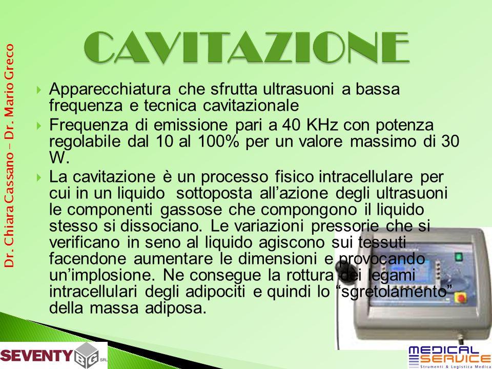 Apparecchiatura che sfrutta ultrasuoni a bassa frequenza e tecnica cavitazionale Frequenza di emissione pari a 40 KHz con potenza regolabile dal 10 al