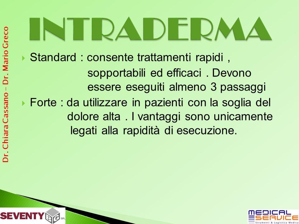 Standard : consente trattamenti rapidi, sopportabili ed efficaci.