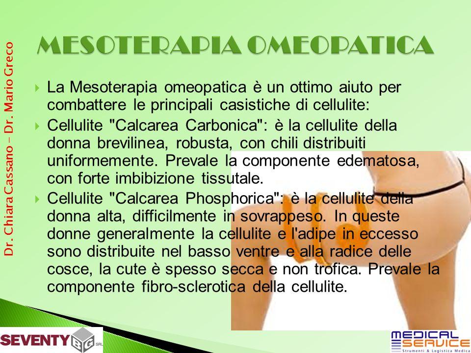 La Mesoterapia omeopatica è un ottimo aiuto per combattere le principali casistiche di cellulite: Cellulite Calcarea Carbonica : è la cellulite della donna brevilinea, robusta, con chili distribuiti uniformemente.