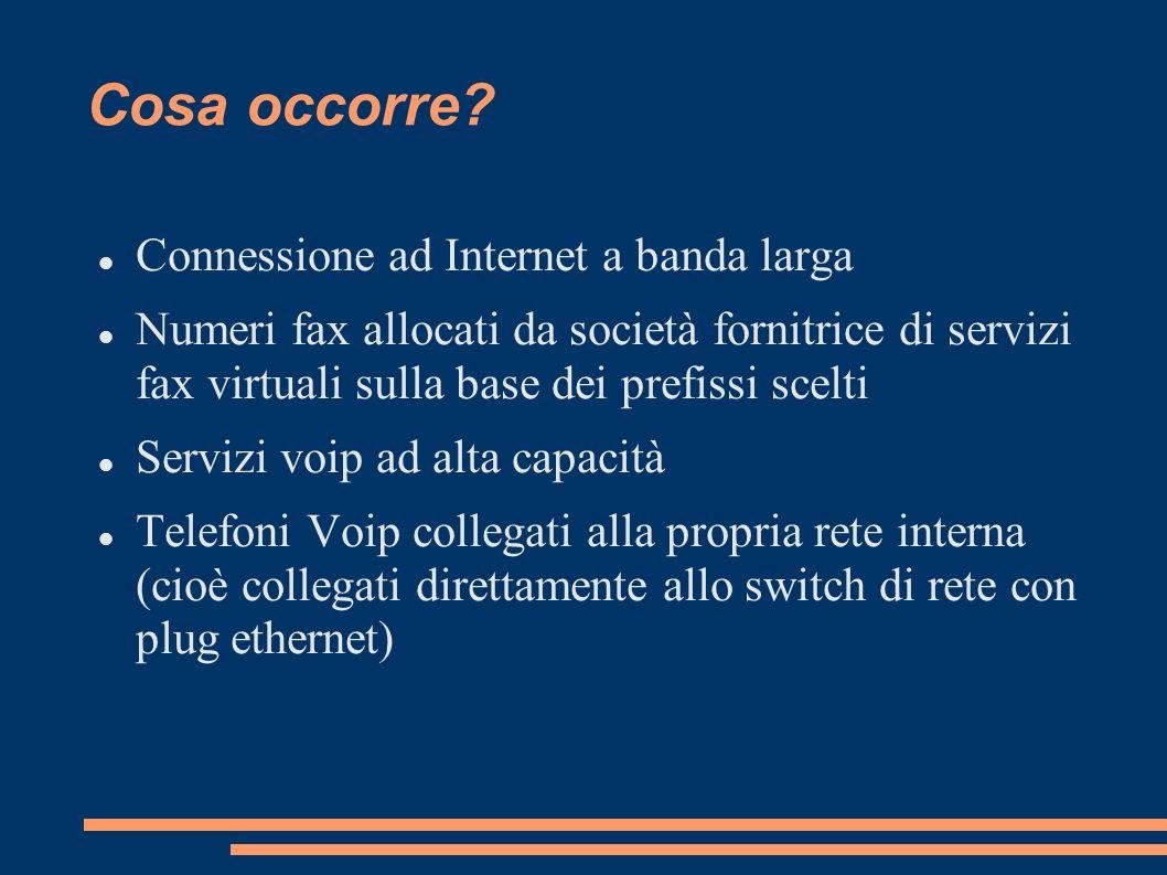 Cosa occorre? Connessione ad Internet a banda larga Numeri fax allocati da società fornitrice di servizi fax virtuali sulla base dei prefissi scelti S