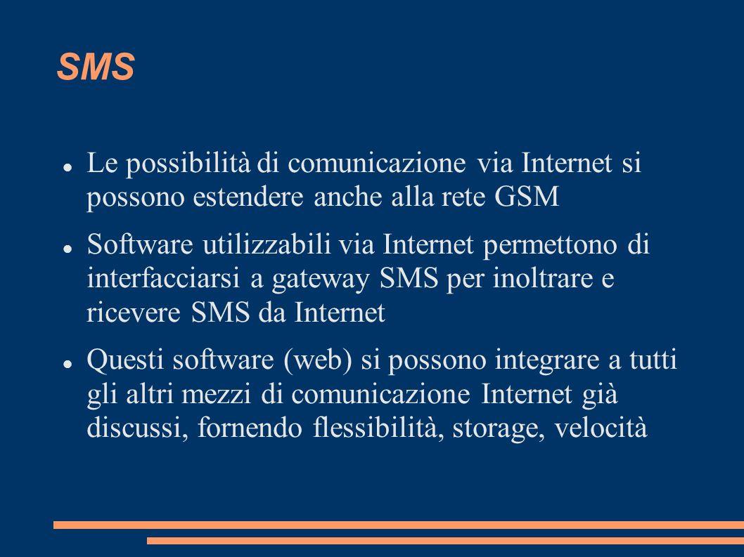 SMS Le possibilità di comunicazione via Internet si possono estendere anche alla rete GSM Software utilizzabili via Internet permettono di interfaccia