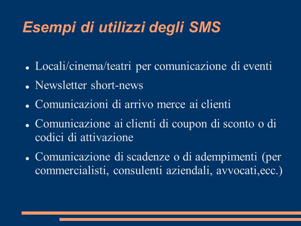 Esempi di utilizzi degli SMS Locali/cinema/teatri per comunicazione di eventi Newsletter short-news Comunicazioni di arrivo merce ai clienti Comunicaz