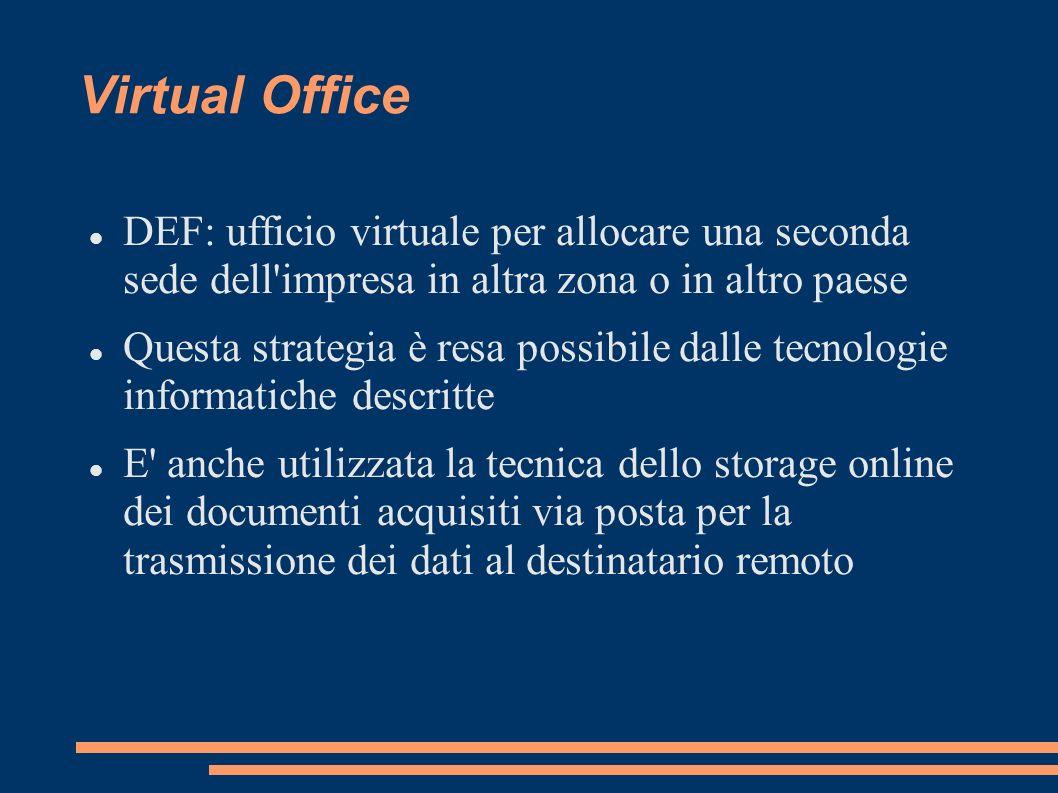 Virtual Office DEF: ufficio virtuale per allocare una seconda sede dell'impresa in altra zona o in altro paese Questa strategia è resa possibile dalle