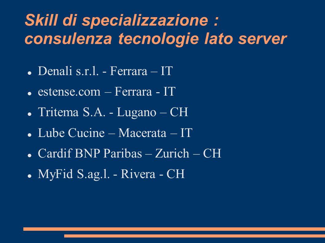 Skill di specializzazione : consulenza tecnologie lato server Denali s.r.l. - Ferrara – IT estense.com – Ferrara - IT Tritema S.A. - Lugano – CH Lube