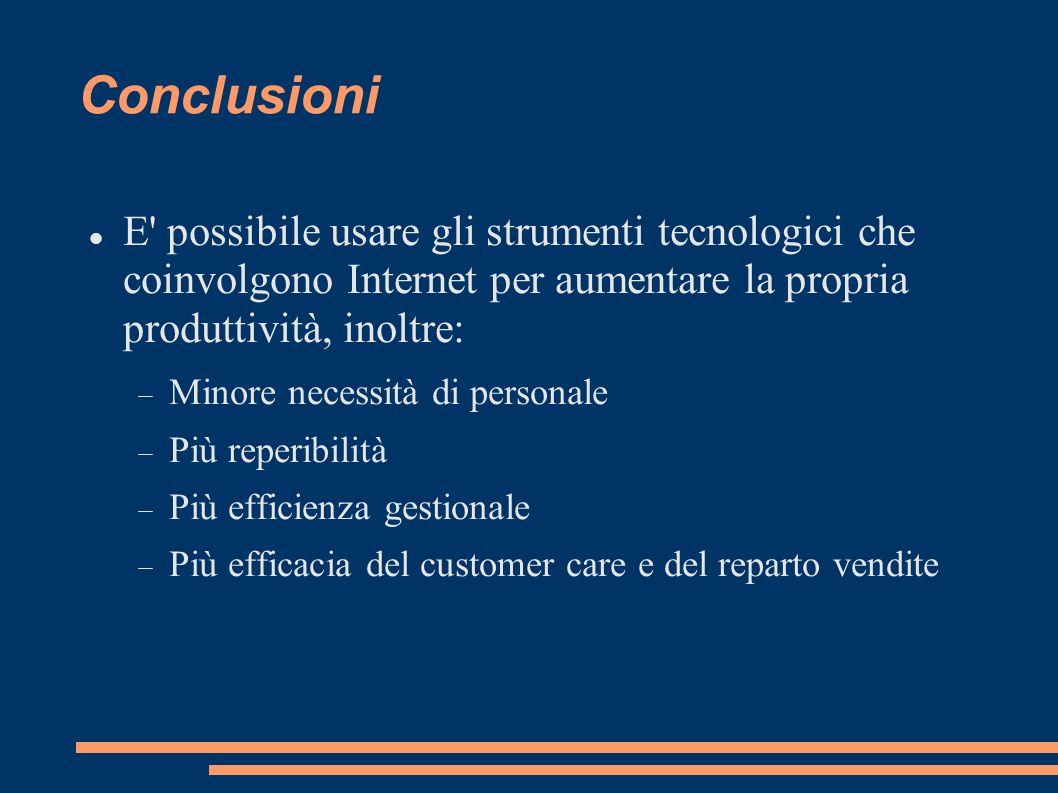 Conclusioni E' possibile usare gli strumenti tecnologici che coinvolgono Internet per aumentare la propria produttività, inoltre: Minore necessità di