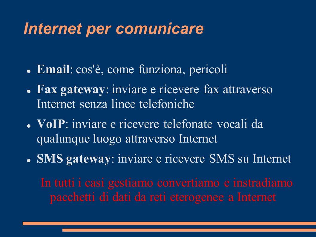 Internet per comunicare Email: cos'è, come funziona, pericoli Fax gateway: inviare e ricevere fax attraverso Internet senza linee telefoniche VoIP: in