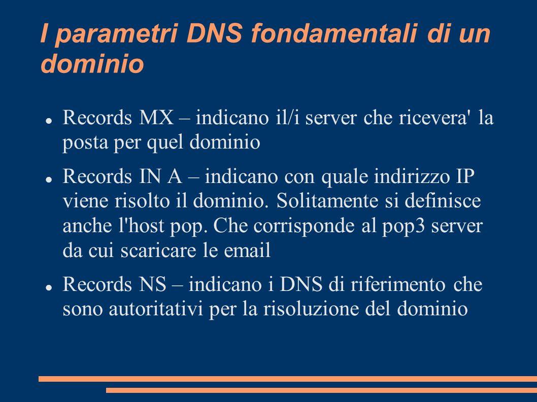 I parametri DNS fondamentali di un dominio Records MX – indicano il/i server che ricevera' la posta per quel dominio Records IN A – indicano con quale