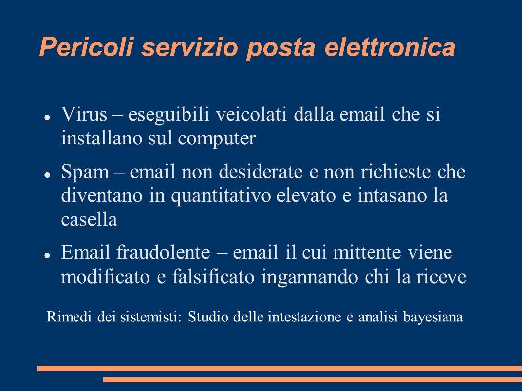 Pericoli servizio posta elettronica Virus – eseguibili veicolati dalla email che si installano sul computer Spam – email non desiderate e non richiest