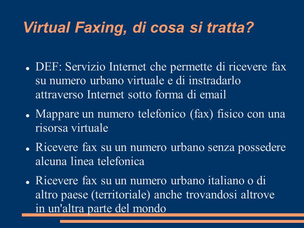 Virtual Faxing, di cosa si tratta? DEF: Servizio Internet che permette di ricevere fax su numero urbano virtuale e di instradarlo attraverso Internet