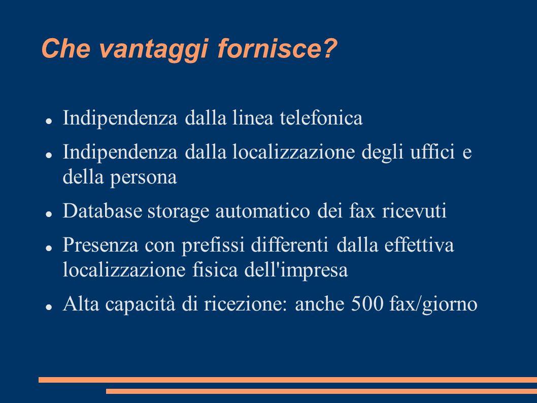 Che vantaggi fornisce? Indipendenza dalla linea telefonica Indipendenza dalla localizzazione degli uffici e della persona Database storage automatico
