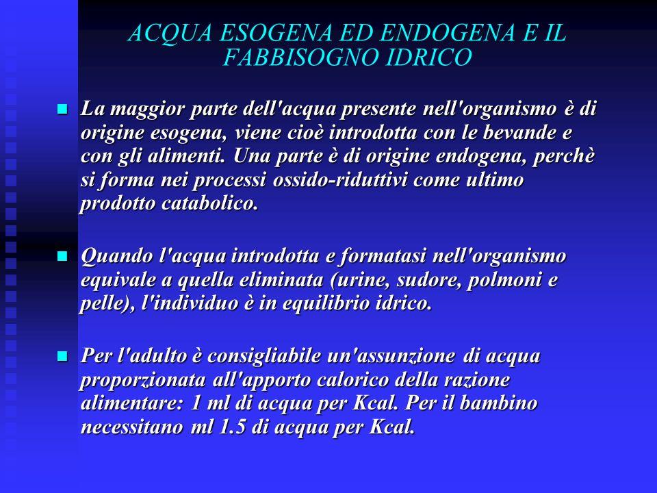 ACQUA ESOGENA ED ENDOGENA E IL FABBISOGNO IDRICO La maggior parte dell acqua presente nell organismo è di origine esogena, viene cioè introdotta con le bevande e con gli alimenti.