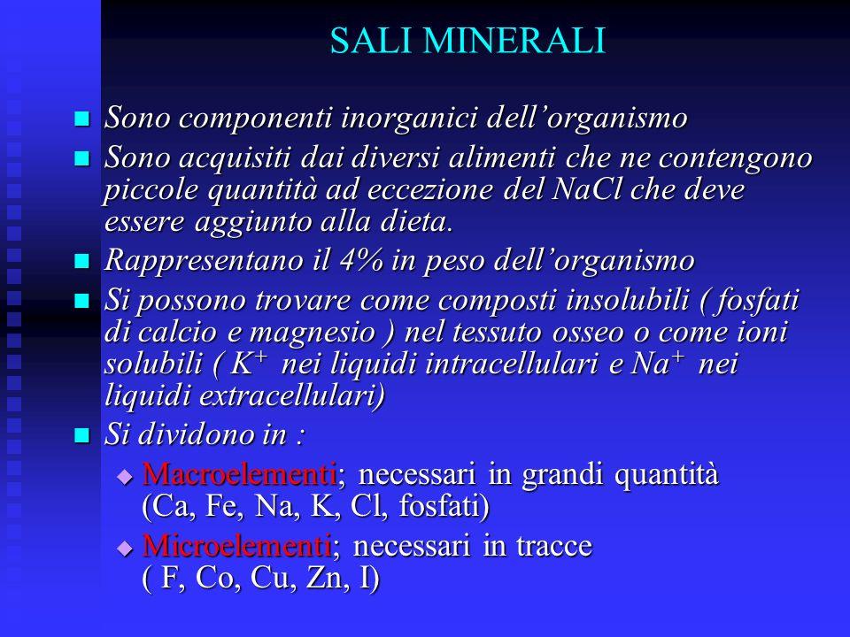 SALI MINERALI Sono componenti inorganici dellorganismo Sono componenti inorganici dellorganismo Sono acquisiti dai diversi alimenti che ne contengono piccole quantità ad eccezione del NaCl che deve essere aggiunto alla dieta.