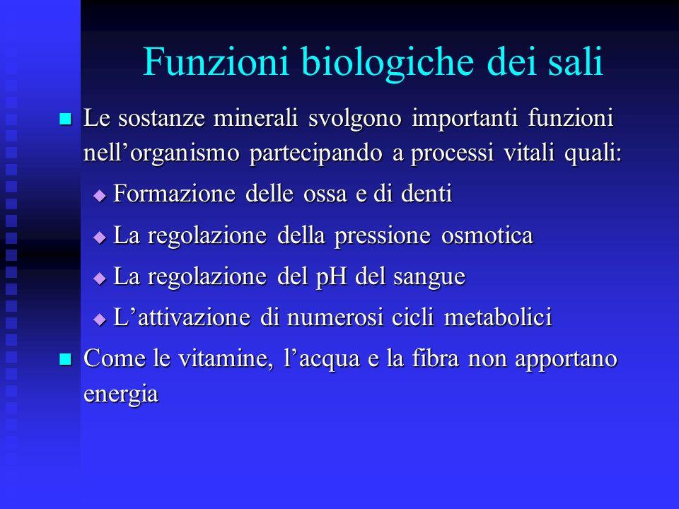 Funzioni biologiche dei sali Le sostanze minerali svolgono importanti funzioni nellorganismo partecipando a processi vitali quali: Le sostanze mineral