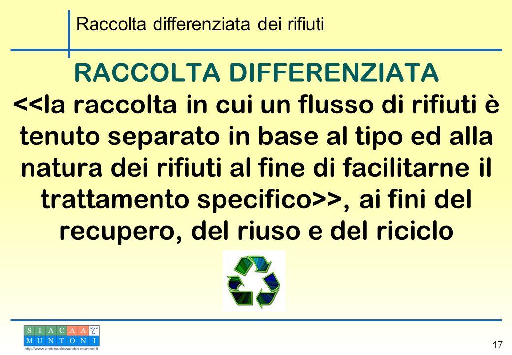 RACCOLTA DIFFERENZIATA >, ai fini del recupero, del riuso e del riciclo 17 Raccolta differenziata dei rifiuti