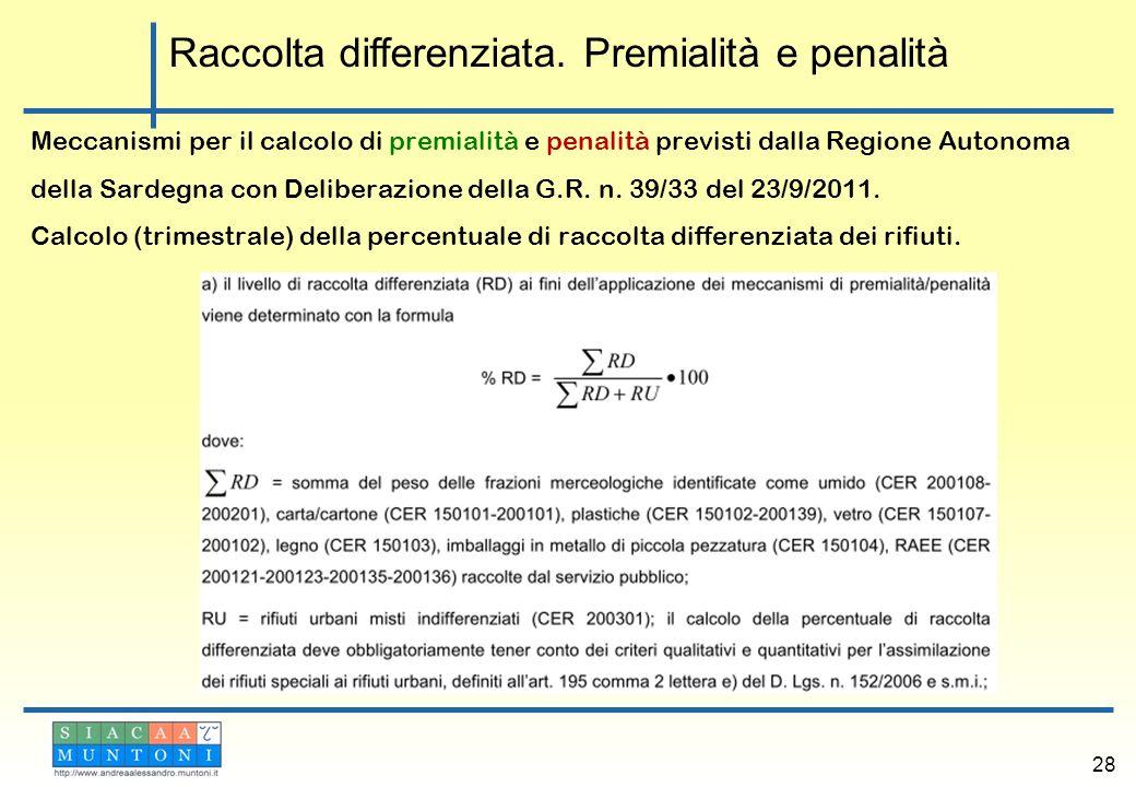 Meccanismi per il calcolo di premialità e penalità previsti dalla Regione Autonoma della Sardegna con Deliberazione della G.R. n. 39/33 del 23/9/2011.