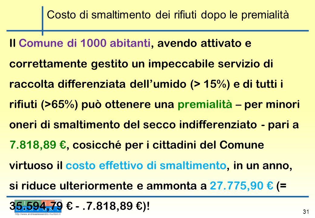 Il Comune di 1000 abitanti, avendo attivato e correttamente gestito un impeccabile servizio di raccolta differenziata dellumido (> 15%) e di tutti i r