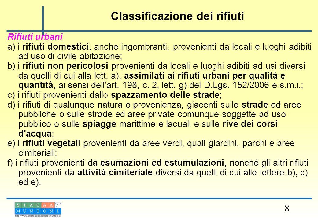 8 Rifiuti urbani a) i rifiuti domestici, anche ingombranti, provenienti da locali e luoghi adibiti ad uso di civile abitazione; b) i rifiuti non peric
