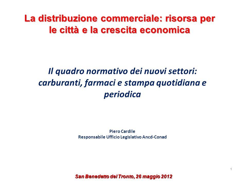 1 La distribuzione commerciale: risorsa per le città e la crescita economica Il quadro normativo dei nuovi settori: carburanti, farmaci e stampa quoti