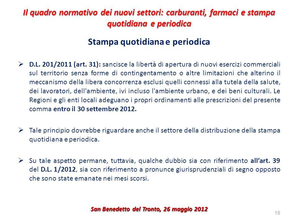 Il quadro normativo dei nuovi settori: carburanti, farmaci e stampa quotidiana e periodica Stampa quotidiana e periodica D.L. 201/2011 (art. 31): sanc