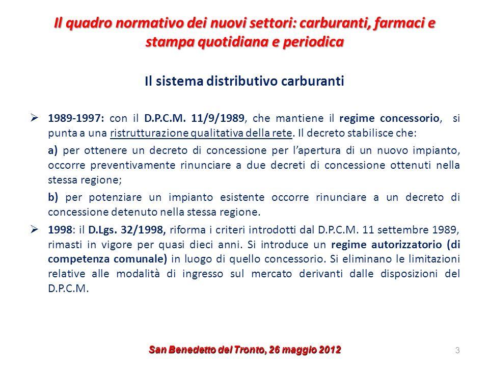 Il quadro normativo dei nuovi settori: carburanti, farmaci e stampa quotidiana e periodica Il sistema distributivo carburanti 1989-1997: con il D.P.C.