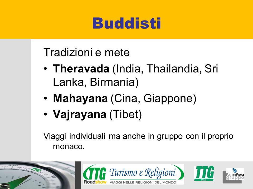 Tradizioni e mete Theravada (India, Thailandia, Sri Lanka, Birmania) Mahayana (Cina, Giappone) Vajrayana (Tibet) Viaggi individuali ma anche in gruppo