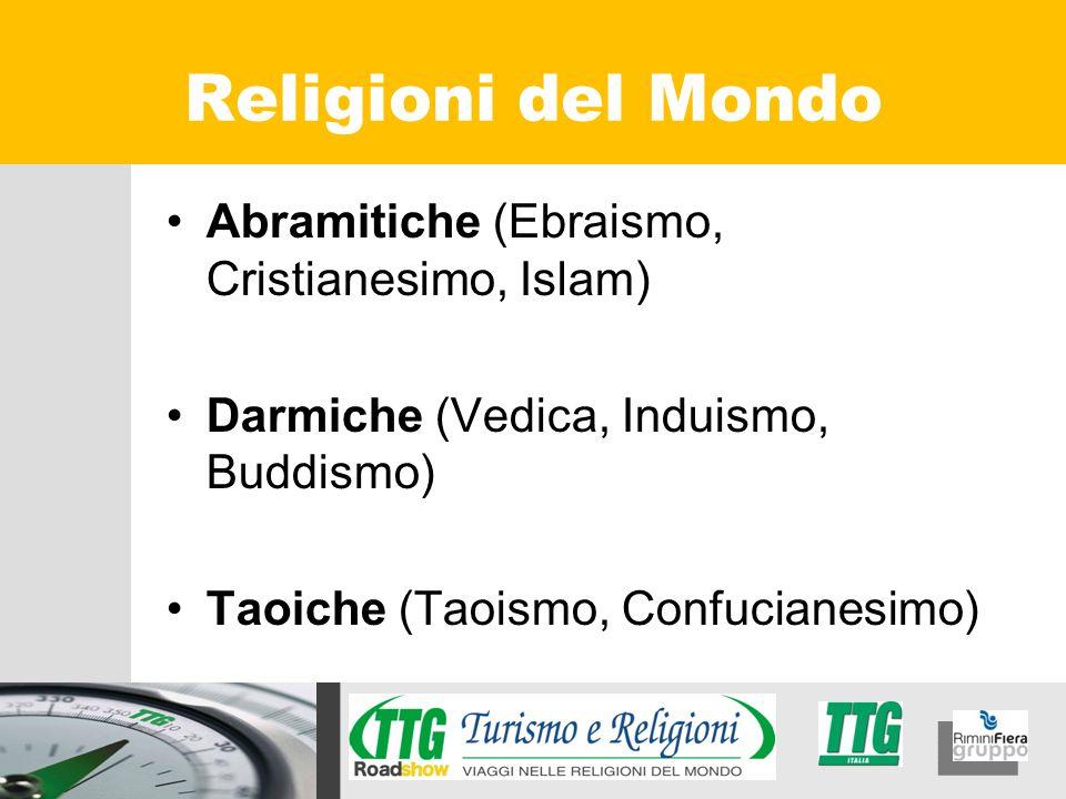 Abramitiche (Ebraismo, Cristianesimo, Islam) Darmiche (Vedica, Induismo, Buddismo) Taoiche (Taoismo, Confucianesimo) Religioni del Mondo