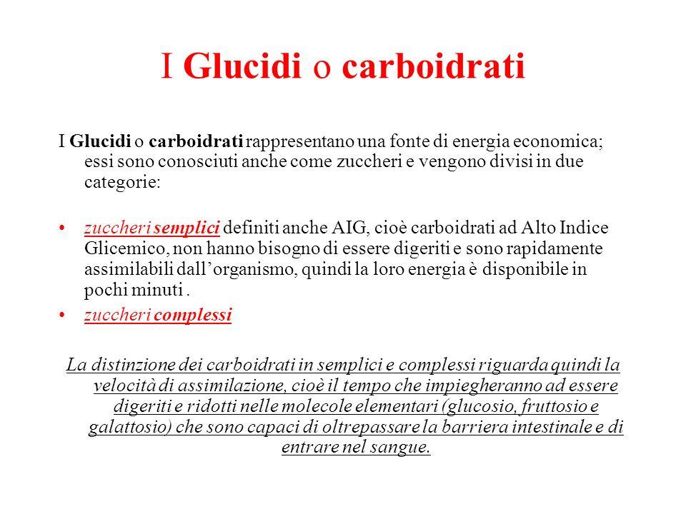 I Glucidi o carboidrati I Glucidi o carboidrati rappresentano una fonte di energia economica; essi sono conosciuti anche come zuccheri e vengono divis