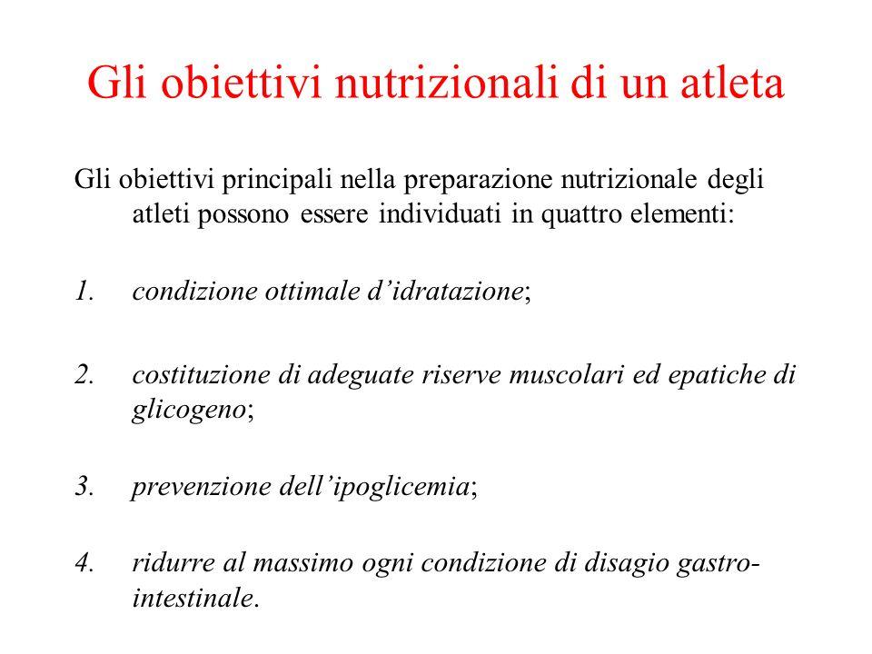 Gli obiettivi nutrizionali di un atleta Gli obiettivi principali nella preparazione nutrizionale degli atleti possono essere individuati in quattro el