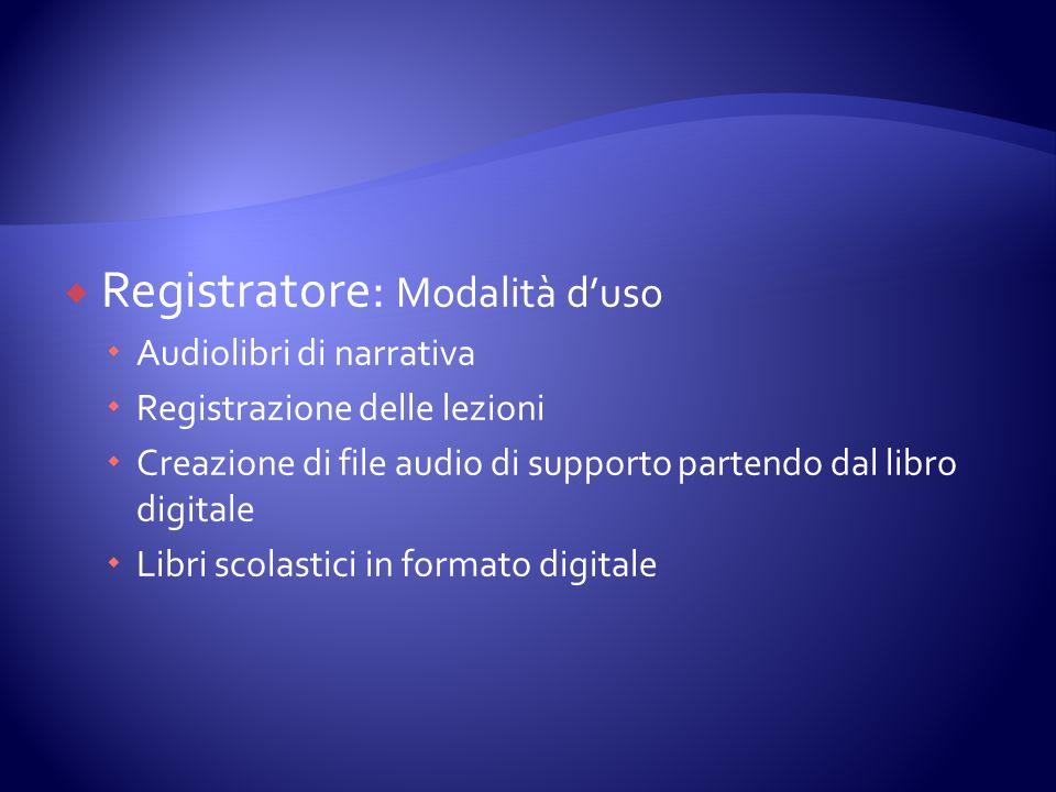 Registratore: Modalità duso Audiolibri di narrativa Registrazione delle lezioni Creazione di file audio di supporto partendo dal libro digitale Libri