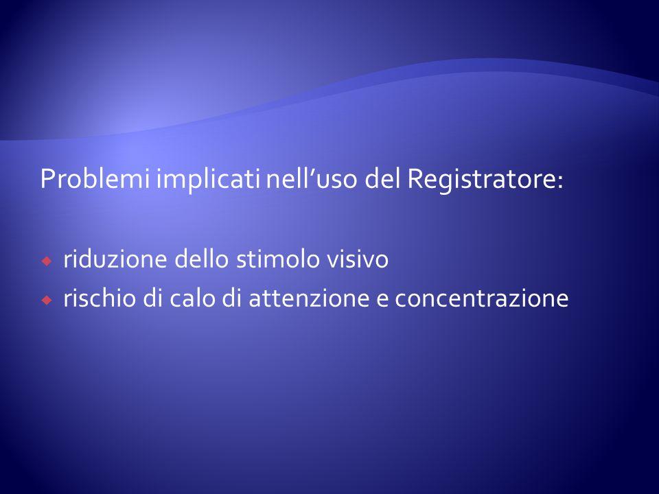 Problemi implicati nelluso del Registratore: riduzione dello stimolo visivo rischio di calo di attenzione e concentrazione