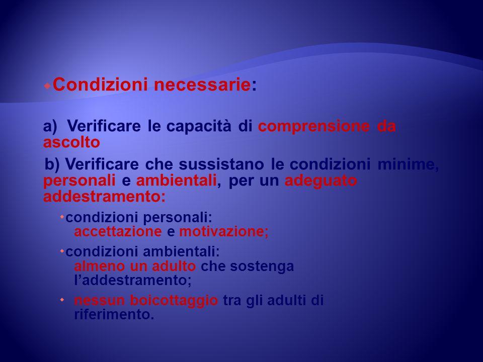 Condizioni necessarie: a) Verificare le capacità di comprensione da ascolto b) Verificare che sussistano le condizioni minime, personali e ambientali,