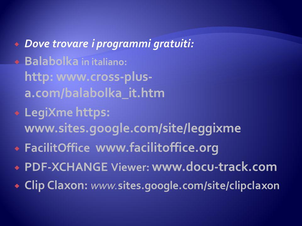 Dove trovare i programmi gratuiti: Balabolka in italiano: http: www.cross-plus- a.com/balabolka_it.htm LegiXme https: www.sites.google.com/site/leggix