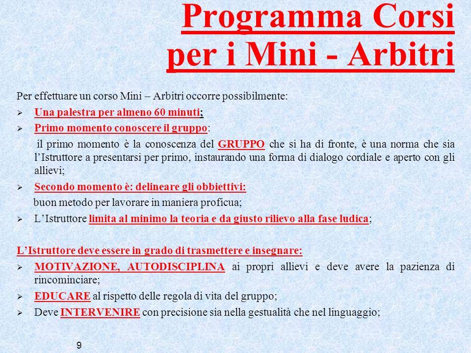 9 Programma Corsi per i Mini - Arbitri Per effettuare un corso Mini – Arbitri occorre possibilmente: Una palestra per almeno 60 minuti; Primo momento