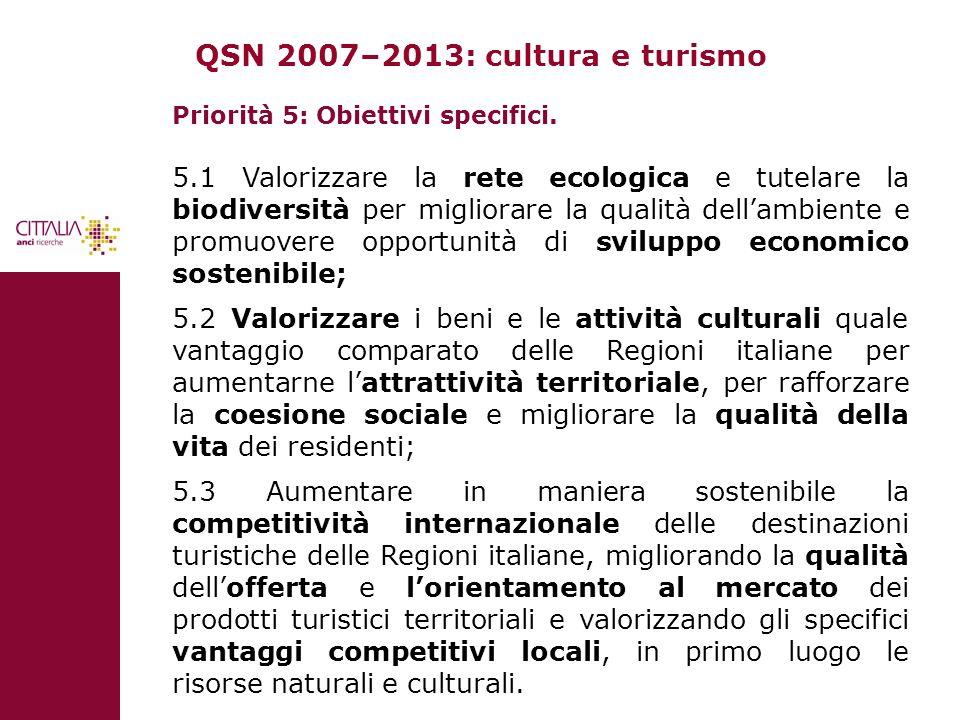 QSN 2007–2013: cultura e turismo Priorità 5: Obiettivi specifici. 5.1 Valorizzare la rete ecologica e tutelare la biodiversità per migliorare la quali