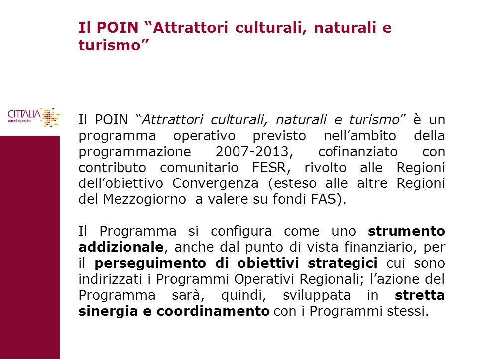 Il POIN Attrattori culturali, naturali e turismo Il POIN Attrattori culturali, naturali e turismo è un programma operativo previsto nellambito della p