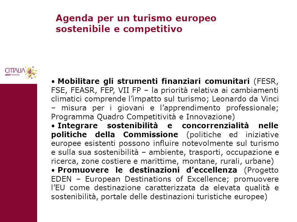 Agenda per un turismo europeo sostenibile e competitivo Mobilitare gli strumenti finanziari comunitari (FESR, FSE, FEASR, FEP, VII FP – la priorità re