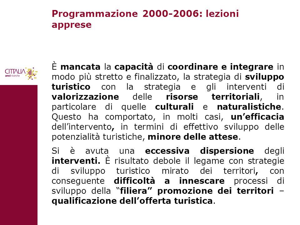 Programmazione 2000-2006: lezioni apprese È mancata la capacità di coordinare e integrare in modo più stretto e finalizzato, la strategia di sviluppo