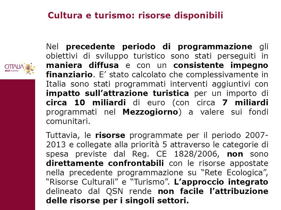 Cultura e turismo: risorse disponibili Nel precedente periodo di programmazione gli obiettivi di sviluppo turistico sono stati perseguiti in maniera d