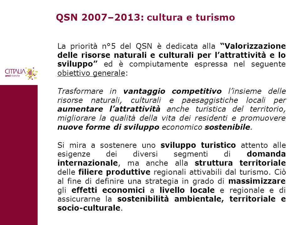 QSN 2007–2013: cultura e turismo La priorità 5 declina la strategia specifica e individua gli indirizzi della politica regionale unitaria, che possono concorrere a tutelare la biodiversità e il patrimonio culturale e a trasformare la dotazione locale di risorse naturali e culturali in aumento di opportunità e benessere, attraverso: lo sviluppo sostenibile del turismo e la valorizzazione del suo indotto; lattivazione di nuove filiere produttive, collegate alle risorse ambientali e culturali; la produzione di sinergie in termini di qualità della vita e identità culturale.