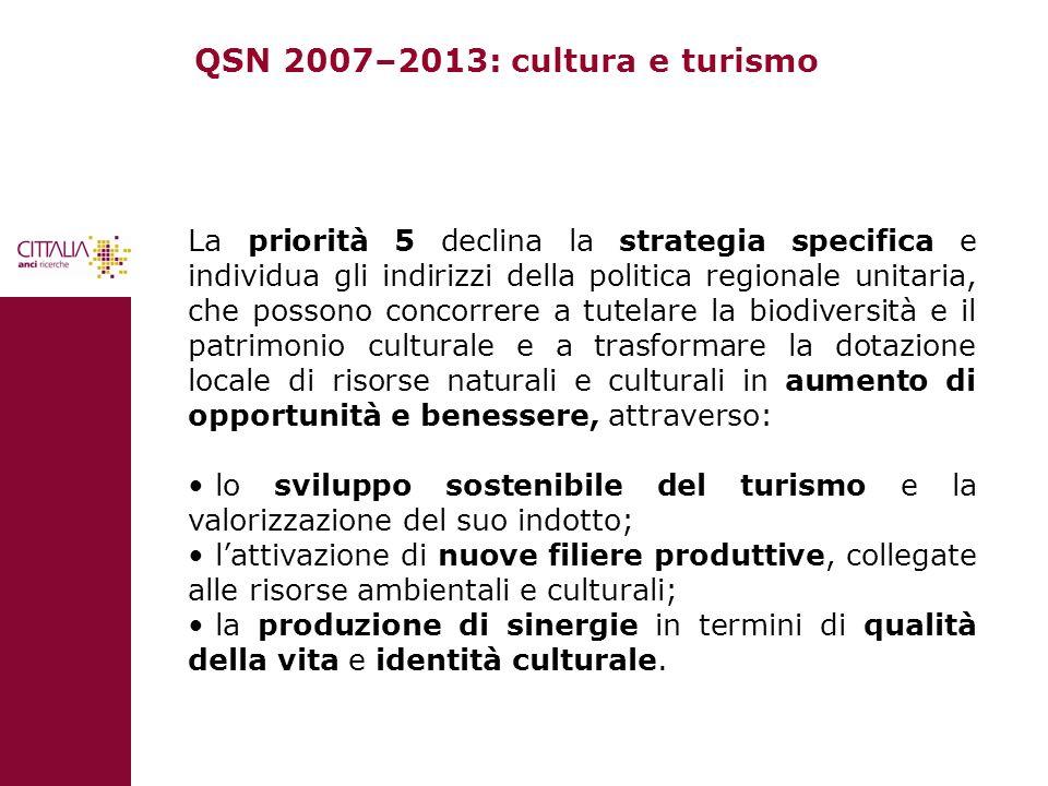 QSN 2007–2013: cultura e turismo La priorità 5 declina la strategia specifica e individua gli indirizzi della politica regionale unitaria, che possono