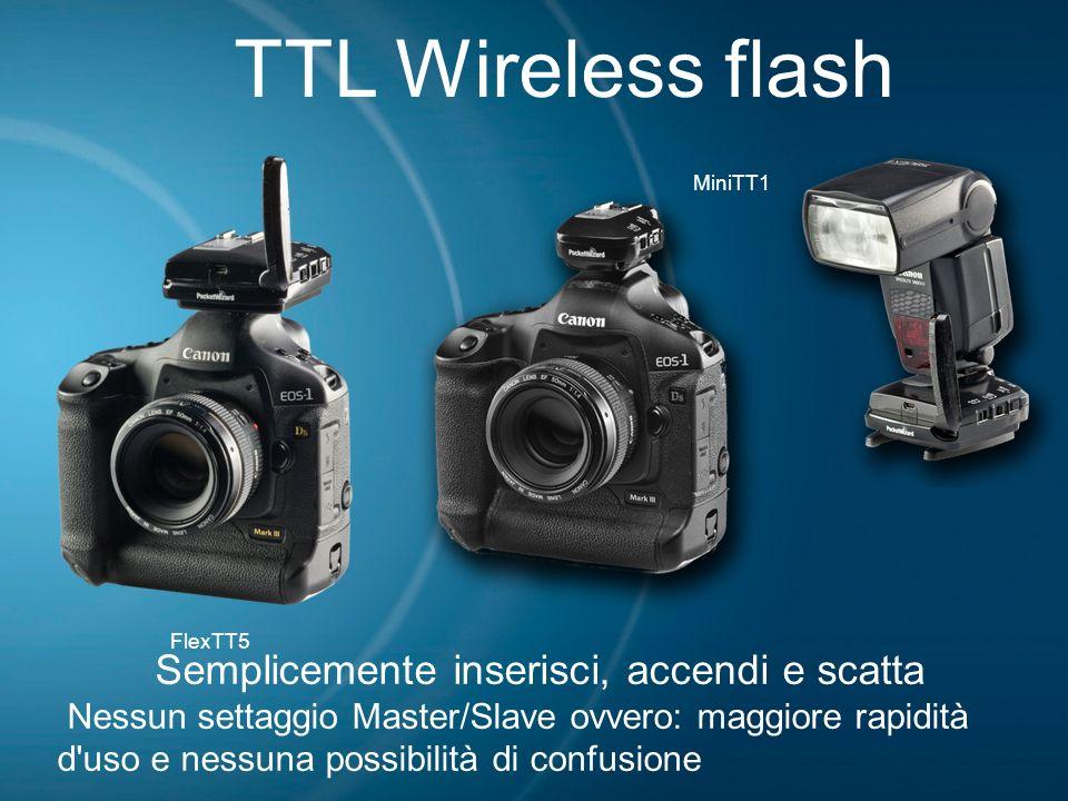TTL Wireless flash Semplicemente inserisci, accendi e scatta Nessun settaggio Master/Slave ovvero: maggiore rapidità d'uso e nessuna possibilità di co