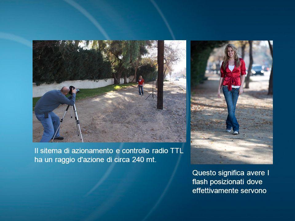 Il sitema di azionamento e controllo radio TTL ha un raggio d'azione di circa 240 mt. Questo significa avere I flash posizionati dove effettivamente s