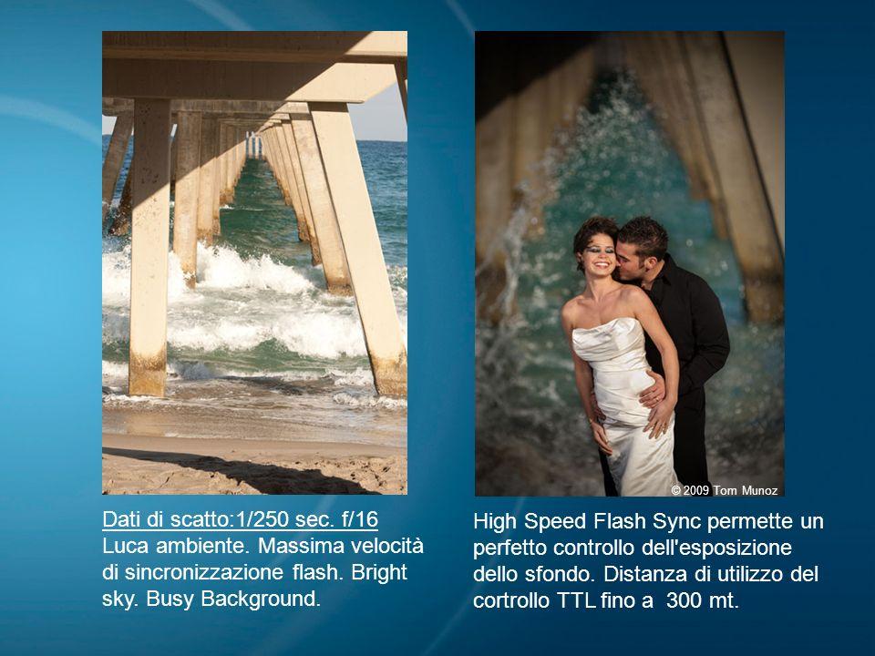 Dati di scatto:1/250 sec. f/16 Luca ambiente. Massima velocità di sincronizzazione flash. Bright sky. Busy Background. High Speed Flash Sync permette