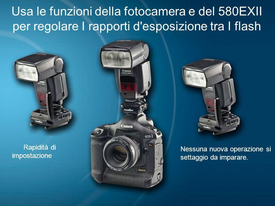Usa le funzioni della fotocamera e del 580EXII per regolare I rapporti d'esposizione tra I flash Rapidità di impostazione Nessuna nuova operazione si