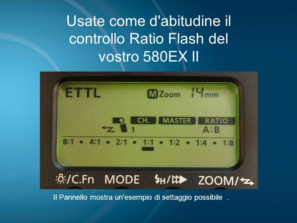 Usate come d'abitudine il controllo Ratio Flash del vostro 580EX II Il Pannello mostra un'esempio di settaggio possibile.
